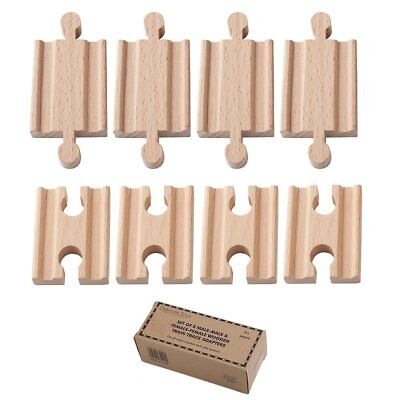 Orbrium 8pcs Male-Male Female-Female Wooden Train Track Adapter Railway Thomas