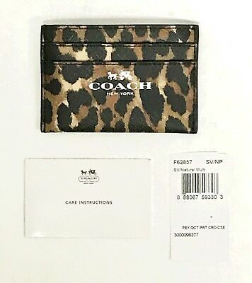 Coach F62857 Ocelet Animal Print Coated Canvas ID Wallet Card Case NWT