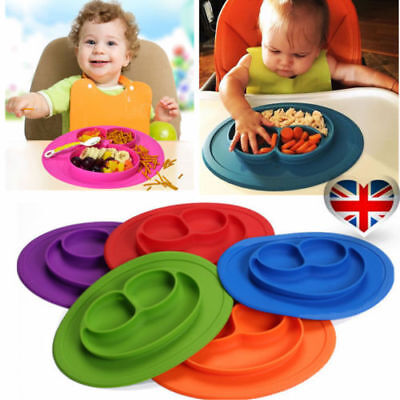 Divided Kids Dinner Plates Placemat Tray Food Silicone Mat Baby Suction Plates F