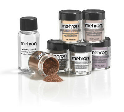 Mehron Metallic Powder With Mixing Liquid Stage Makeup Face Body Metallic Paint