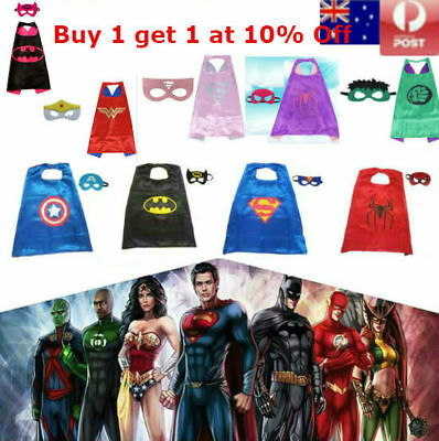 Kids Superhero Cape & Mask Costume Party Dress Super Hero Boys Girls Superman