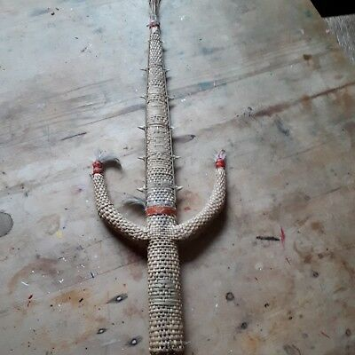 vintage tribal Hawian  spear with shark teeth and feathers