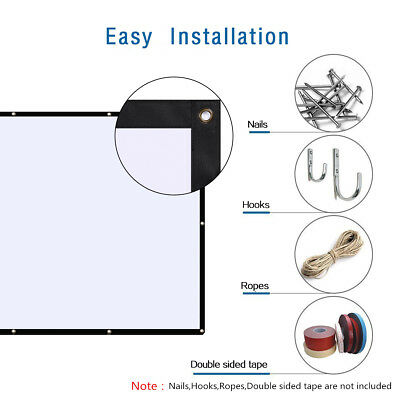 16:9 Manual Projection Screen Projector Movie 120 inch Hangning Cinema Cloth US