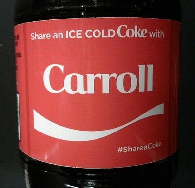 Share A Coke With Carroll Limited Edition Coca Cola Bottle 2017 USA