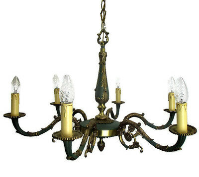 Vintage French Empire Pan Chandelier Green Tole Brass Bronze  6 arms Regency HTF