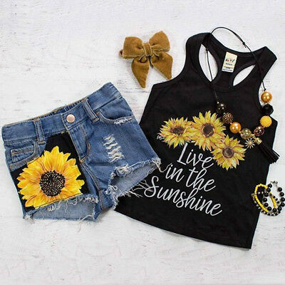 USA Newborn Kids Baby Girl Sunflower Tops Vest Denim Pants Shorts Outfits Set H