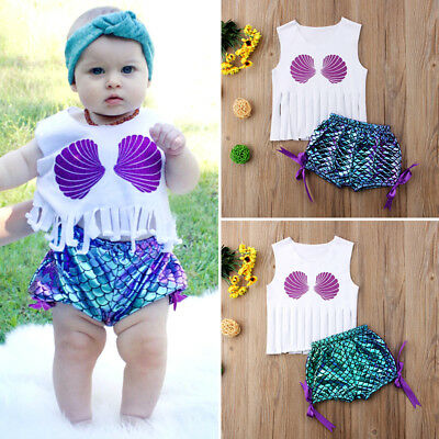 US Stock Mermaid Girls Baby Kids Tassels Tops Shorts Summer Outfits Clothes 0-3Y