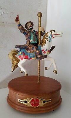 """Coca Cola Emmett Kelly Musical Figurine """"Play Refreshed"""" Carousel Horse Wind Up"""