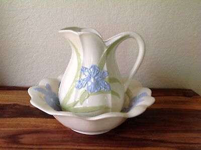 1997 Reproduction Floral Wash Basin And Pitcher