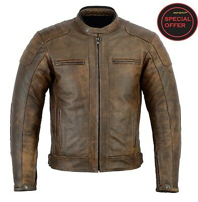Cafe Racer Mens Geniune Motor Bike Washed Brown Leather Jacket CE Approved