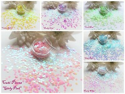 "Hexagon ""Pastel"" Colours Pot Spangle Glitter Nail Art Tip Holographic Decoration"