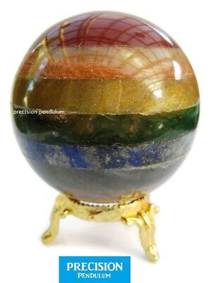 Chakra Seven Healing Crystal Gemstone Ball Orb Sphere on Gold Metal Stand