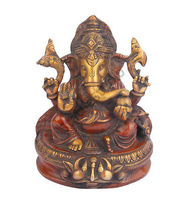 "Indian Lord Ganpati Idol Ganesh Statue For Sale 8"" Brass"