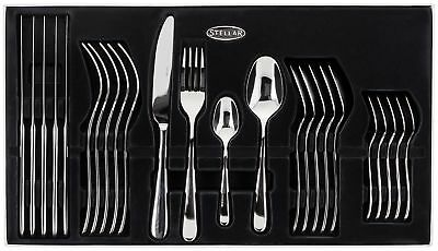 Stellar Tattershall 24 Piece Stainless Steel Boxed Cutlery Set 25 Year Guarantee