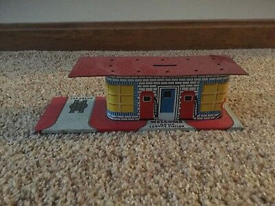 Coin Bank Vintage  Tin Service Station 1940's