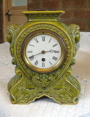 """SINGLE TRAIN"" Art Deco.Green Glazed Mantel Clock, Works.In Excellent Condition"