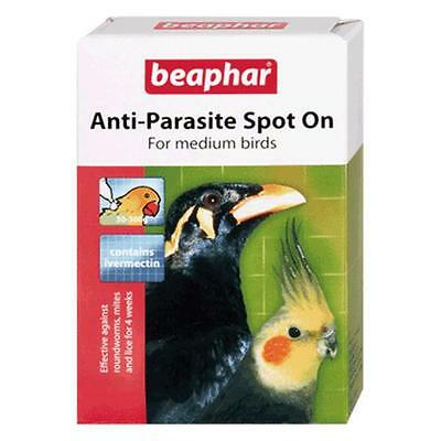 Beaphar Anti Parasite Spot on Medium Birds Cage Parakeet Lice Mites Aviary