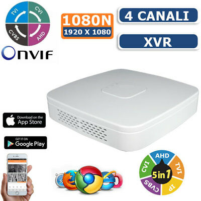 XVR DVR 5in1 AHD CVI TVI CVBS IP 4 CANALI UTC FULL HD 1080P P2P CLOUD HDMI WIFI