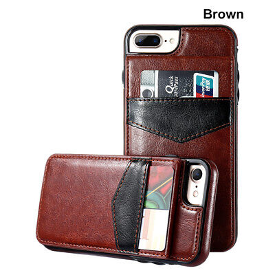 Leather Flip Wallet Card Holder Case Cover For iPhone X 6 7 8 Plus Samsung S7 S8