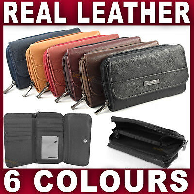 Real LEATHER PURSE wallet 7 card slots zipped coin section Ladies Womens genuine
