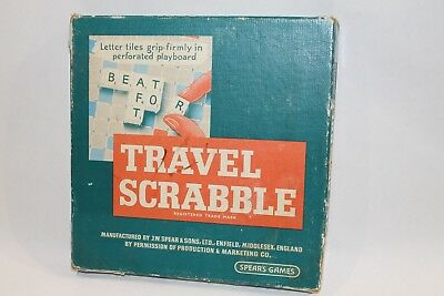Vintage Travel Scrabble Board Game 1950's era Made in England By Spear's Games