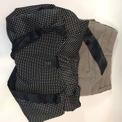 Lane Bryant Womens 22 24 LOT Khaki Pants Black White Career Blouse Tie Back
