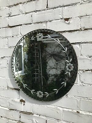 Scalloped Round Mirror Vintage Art Deco Round Frameless Etched Mirror