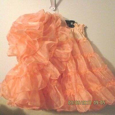 "SQUARE DANCE PETTICOAT,PEACH crystal  1 layers  , x FULL,waist 32"" -46"""