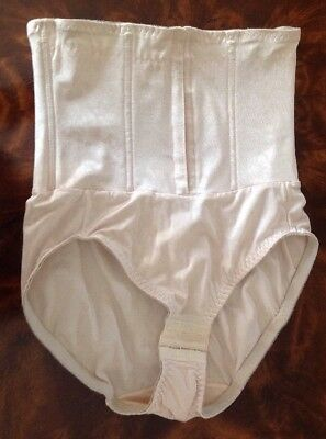 Jaclyn Smith WN SZ LARGE WAIST SLIMMER WITH PANTY BEIGE HOOK & EYES & STAYS