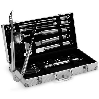 VonHaus 18-Piece BBQ Tools Set -  Stainless Steel Grill Utensil Set with Case