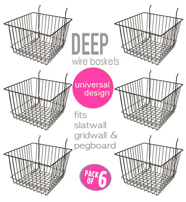 Only Hangers Deep Wire Baskets For Gridwall, Slatwall and Pegboard- Black 6pk