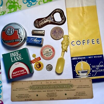 Assorted Vintage Advertising Lot Tin Badges Paper Celluloid Pickwick Ale
