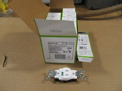 CASE of 10 Leviton 8210-W White Hospital Grade Receptacle 15A, 125V