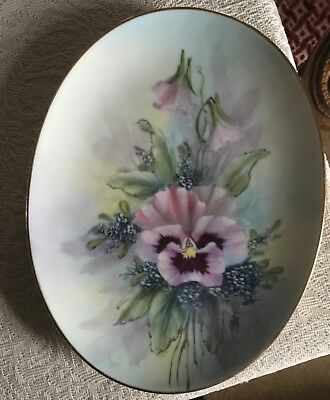 OVAL Porcelain Handpainted Plate by Frank Albrecht 8 inch new condition