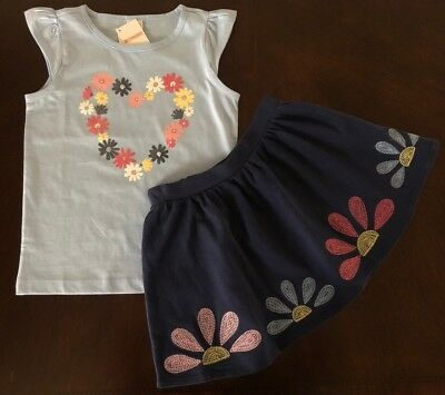 NWT Gymboree Girl Wildflower Weekend Heart Tee & Flower Skirt Outfit  7 8 10