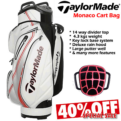 Taylormade Golf Bag Monaco Water Repellent Cart Bag Mens Golf Trolley Bag 14-Way