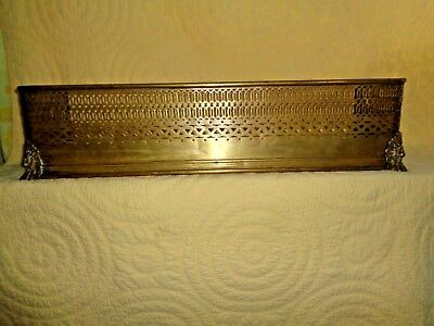Antique Fireplace Fender Roaring Lion With Mane & 5 Toed Paw Pierced Pure Brass