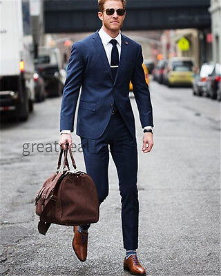 Men Navy Blue Wedding Suits Slim Fit Groom Formal Suit Groomsman Tuxedos Custom