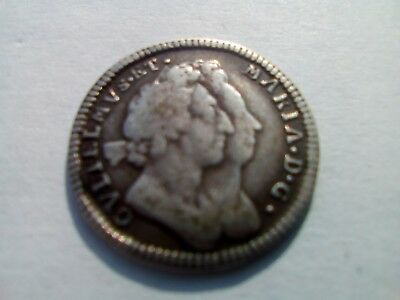 GB-4 four Pence - William & Mary 1692 SILVER COIN