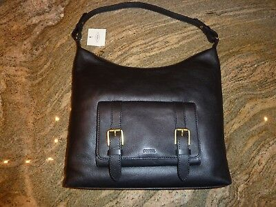 $198, NWT Fossil Cleo Hobo Shoulder Bag,Black Leather Purse,New,Zippered,