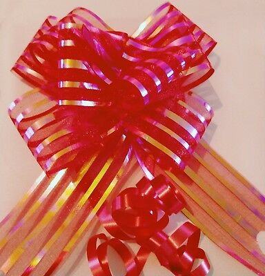 2 x Large 50mm Organza Pull Bows Quality Gift Wrap Ribbon  FAST & FREE DELIVERY