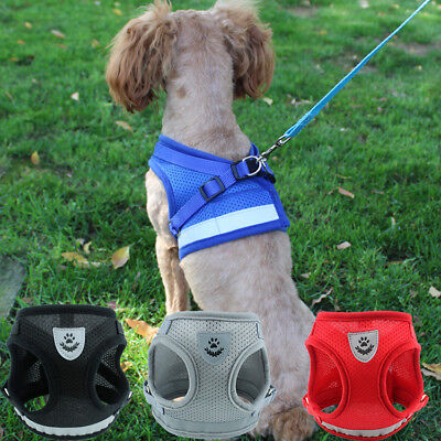 Reflective Breathable Soft Air Mesh Small Puppy Dog Vest Harness Leash Set