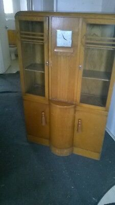 1930 oak glass  cabnet 4ft  58in  tall by 3ft wide by 1ft