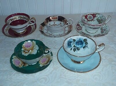 5 sets vintage bone china wide mouth teacups & saucers  2 with cabbage roses