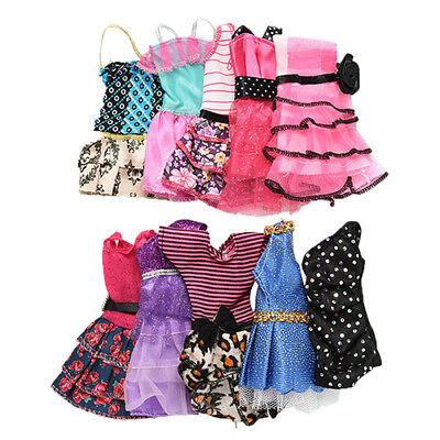 10 Pcs Beautiful Handmade Fashion Clothes Party Dress For Barbie Doll Decor New