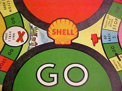 """Vintage 1936 Shell Oil Gas """"Stop and Go"""" Toy Game Premium Give-a-way w/ Spinner"""