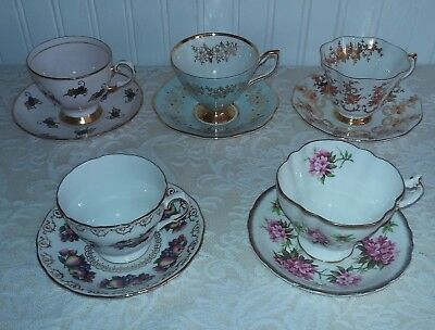 5 sets English vintage bone china footed teacups & saucers  lots of gild
