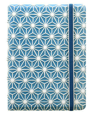 Filofax Notebook Impressions Pocket - Blue and White with Elastic Closure 115043