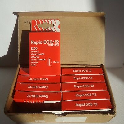 RAPID 606/12 STAPLES !! 10 x boxes of 1,200 = 12,000 Staples