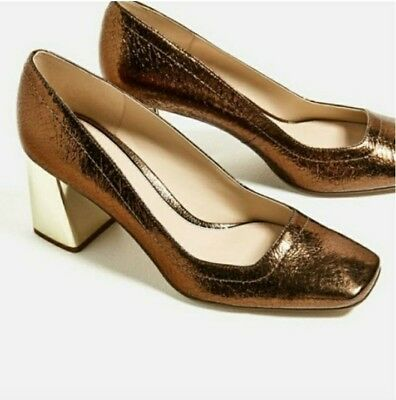 9f3bdcfe2dd Nwt Rare Zara Crackled Leather Pumps Shoes Sz 9 Bloggers Fav! Lower Price!